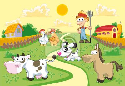 Farm -Produktreihe mit Hintergrund .