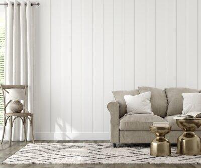 Bild Farmhouse living room interior background, wall mockup, 3d render