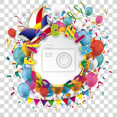 Fasching Cover Mit Konfetti Luftballons Und Girlanden Auf