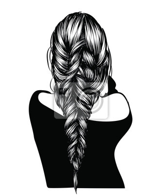 Bild Fashion illustration of a girl with heathy long hairstyle. Hand-drawn braid for web, brochure, templates, post, business card.