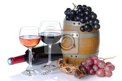Bild Fass, Flasche und Gläsern Wein mit roten und schwarzen Trauben