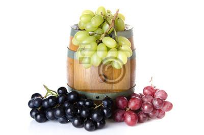 Bild Fass mit roten, schwarzen und weißen Trauben
