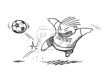Bild Fat Kid Spielen Fussball Doodle Eine Hand Gezeichnet Vektor Doodle
