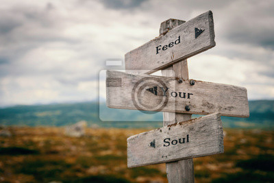 Bild Feed your soul text on wooden rustic signpost outdoors in nature/mountain scenery. Meditation, wellness, positive concept.