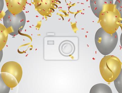 Bild Feiertagshintergrund mit Serpentinenentwurfs-vektorillustrationsballonen Ballonen und Konfettis