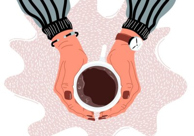 Bild Female hands holding coffee cup flat vector illustration