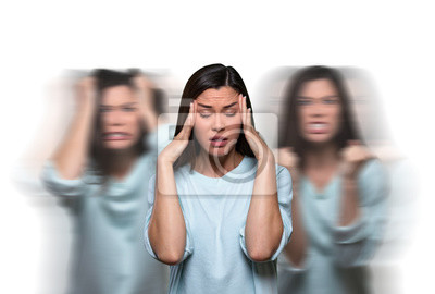 Bild Female suffering from uncontrollable thoughts, overwhelmed with inner conflict stress, mental illness, hormonal issues
