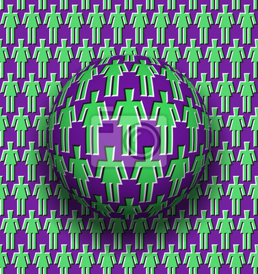 Female unity optical illusion concept. Rotating sphere over moving surface with women symbols.