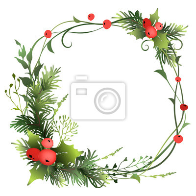 Bild Festive decorative Christmas frame with fir branches, holly berry and meadow herbs. Vector illustration.
