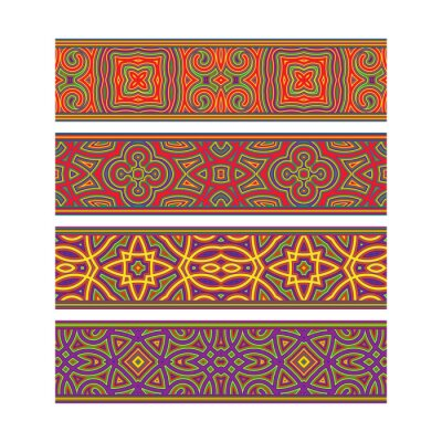 Festive patterned ribbon design. Move ornament elements to Brush Panel to create vector pattern brushes.