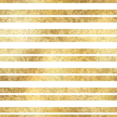 Bild Festive Vector Geometric Striped Golden Seamless Pattern. Classic shiny gold foil repeat texture with horizontal lines. White stripes holiday luxury glow print for digital paper, background, wallpaper
