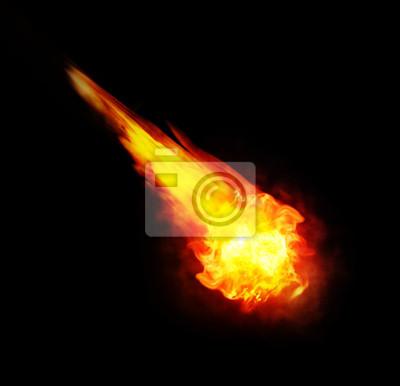Feuerball (Feuerball) auf schwarzem Hintergrund