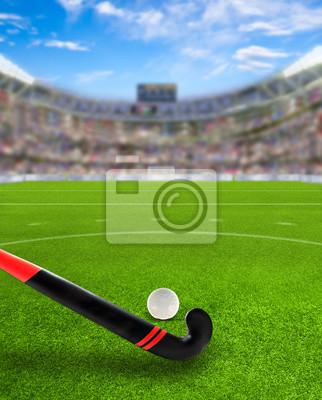 Field Hockey Arena mit Stick und Ball auf dem Feld