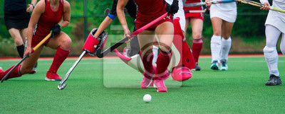 Bild Field hockey players challenge eachother for possession of the ball on the midfield battle of a hockey mach
