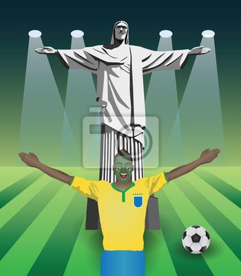 Fifa-WM-Fan mit Christusstatue