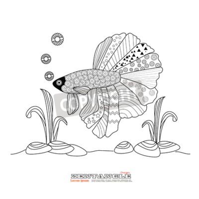 Fighting fisch zeichnung für färbung book.betta fisch zentangle ...