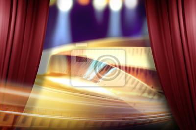 Bild Film-Award auf dem Scheinwerfer Hintergrund hinter der offenen roten Vorhang
