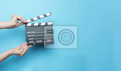 Bild Film clapper auf blauem Hintergrund, Kino-Konzept