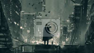 Bild film noir concept showing the detective holding a gun to his head and standing on roof top at rainy night, digital art style, illustration painting