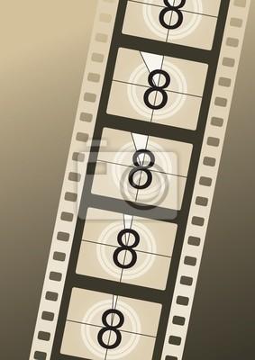 Filmstrip Countdown von Platz acht auf braunem Hintergrund