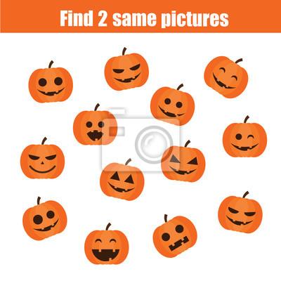 Halloween Thema.Bild Finden Sie Die Gleichen Bilder Kinder Padagogisches Spiel Halloween Thema