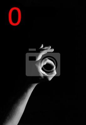 """Bild Finger, die Rechtschreibung die Zahl """"0"""""""