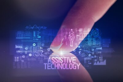 Finger touching tablet with web technology icons and ASSISTIVE TECHNOLOGY inscription