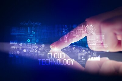 Finger touching tablet with web technology icons and CLOUD TECHNOLOGY inscription
