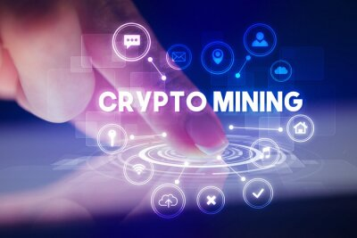 Finger touching tablet with web technology icons and CRYPTO MINING inscription, web technology concept