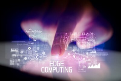 Finger touching tablet with web technology icons and EDGE COMPUTING inscription