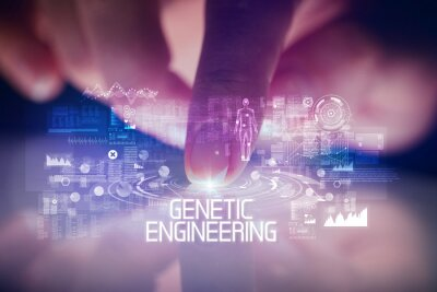 Finger touching tablet with web technology icons and GENETIC ENGINEERING inscription