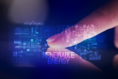 Finger touching tablet with web technology icons and RENEWABLE ENERGY inscription