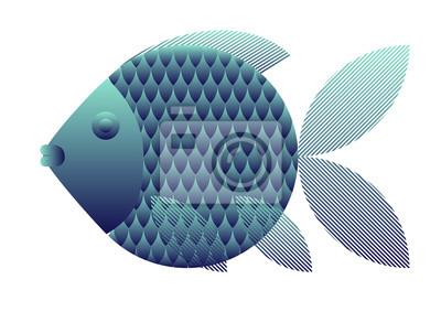 Fisch. Design für T-shirt, Logo, Tasche, Postkarte, Poster, Illustration, Anzeigen und so weiter. Vektor auf weißem Hintergrund isoliert.