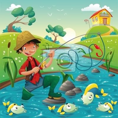 Fischer und Fische im Fluss . Vektor -Szene.