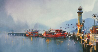 Bild fishing boat in harbor at morning,watercolor painting style