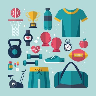 Bild Fitness and health flat icons set