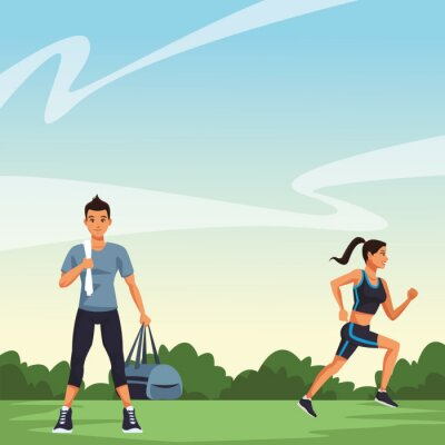 Fitness people running