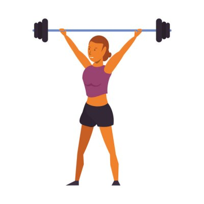 Fitness woman lifting weights isolated cartoon