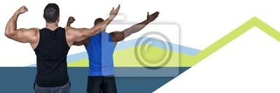 Fitnesstrainer Männer mit minimalen Formen