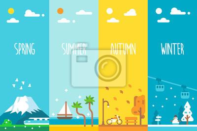 Bild Flache Bauform 4 Jahreszeiten Hintergrund