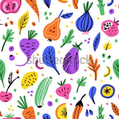 Bild Flache Hand des Obst und Gemüse gezeichnetes nahtloses Muster. Gesunde Nahrungskarikaturbeschaffenheit. Skandinavische Illustrationen des biologischen Lebensmittels. Diät Skizze Farbe Cliparts. Küchen
