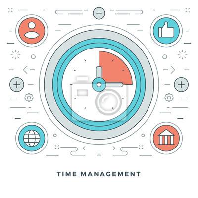 Hochwertig Bild Flache Linie Business Zeit Management Konzept. Abbildung. Moderne  Dünne Lineare