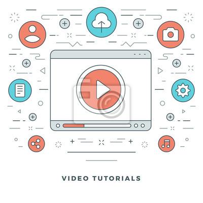GroBartig Bild Flache Linie Video Tutorials Konzept Vektor Illustration. Moderne  Dünne Lineare Strich