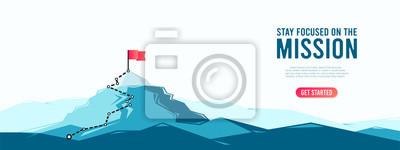 Bild Flag on the mountain peak. Business concept of goal achievement or success. Flat style vector illustration