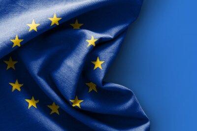 Bild Flagge von Europa auf blauem Hintergrund