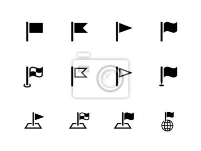 Flaggen-Icons für Präsentationen auf weißem Hintergrund.