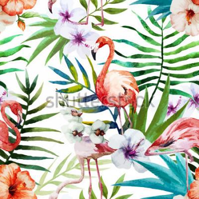 Bild Flamingos, Aquarell, Tropen, Muster