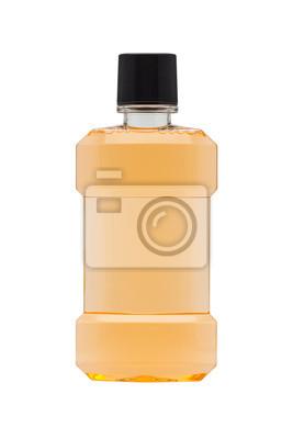 Flasche Mundwasser Minze Orange auf weißem Hintergrund