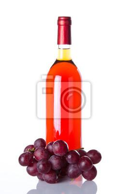 Bild Flasche Rosé-Wein und roten Trauben