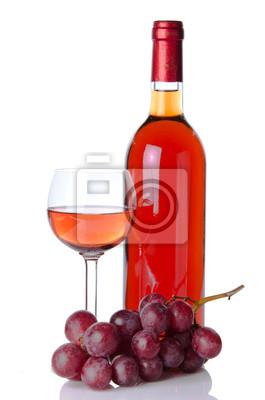Bild Flasche und Glas Wein mit roten Trauben